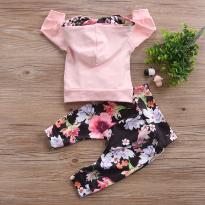 Autumn Winter Infant Newborn Baby Girls Clothes Pocket Patchwork Hooded Tops Floral Leggings Outfit  Baby Clothing Set