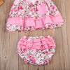 Baby Clothing Kids Baby Girls Floral Ruffles Sleeveless Tops + Triangle shorts+ Headband Outfit Clothes