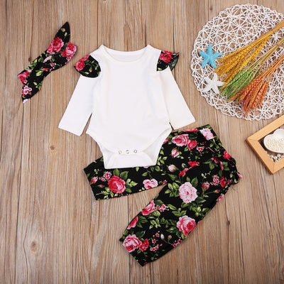 Newborn Baby Girls Tops Long Sleeve Romper+ Floral Pants +Headband Outfits Set Clothes