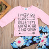 born Baby Girl Letters Pink Long Sleeve Arrow Tops + Floral Long Pants Outfits Set Clothes