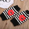 born Baby Boy Girls Cotton Red Lip Romper+ Striped Leggings Pants Outfits Set