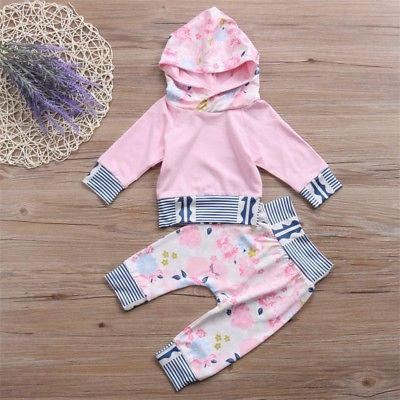 Autumn Winter Baby Clothing Newborn Infant Baby Girl Long Sleeve Hoodie Tops +Floral Pants Outfits Clothes