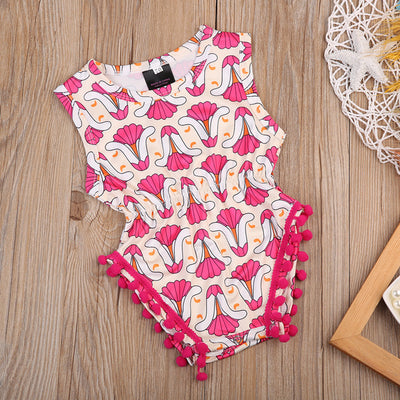 Newborn Infant Baby Girl Short Sleeve Jumpsuit Tassel Ball Romper Outfits Clothes Baby Clothing