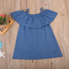 Fashion Kid Baby Girl Princess denim Dress Kid Baby Party Off Shoulder Formal Dresses Clothes