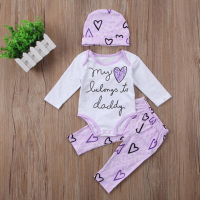 New Newborn Infant Baby Girl Cotton Long Sleeve Romper Heart Pants Hat Outfits Set Clothes