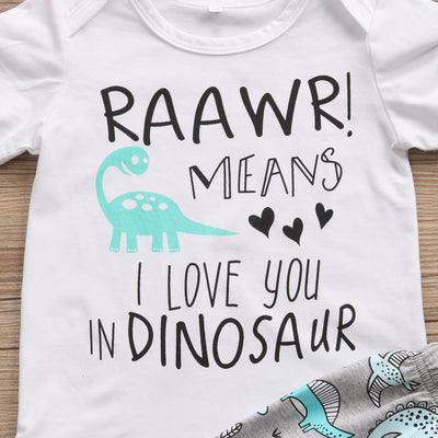 Newborn Baby Boy Romper Top +dinosaur Pants Leggings Hat Outfit Clothes