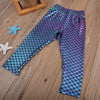 Kid Girl Skinny Mermaid Shiny Fish Scale Leggings Pants Pencil Trousers