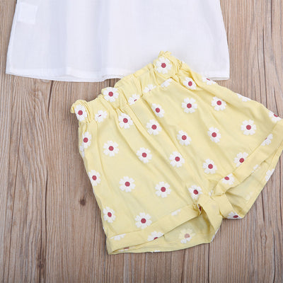 Summer Kid Baby Girls Clothing Outfits Clothes Lace Tops Floral Shorts