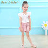Girls Clothing Sets Girls Suits Sleeveless Appliques T-shirt+Floral Shorts Children Clothing