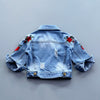 Girls Jacket Denim Jacket Rose Flower Embroidery Vintage Jeans Jackets for Girl Toddler Baby