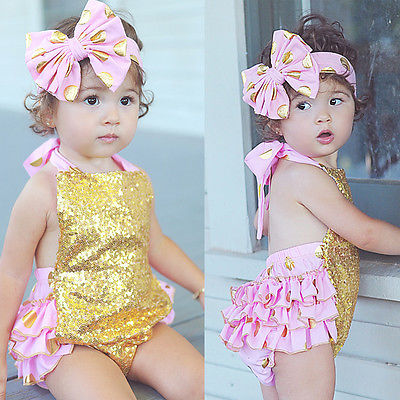 2Pcs/Set ! Infant Baby Girl Sequins Sleeveless Halter Belt Romper Jumpsuit Outfits Backless Sun-suit 0-24M