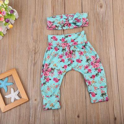 Newborn Baby Girls Long Sleeve Tops Romper+ Floral Leggings Pants + Bow Headband Outfits Clothes