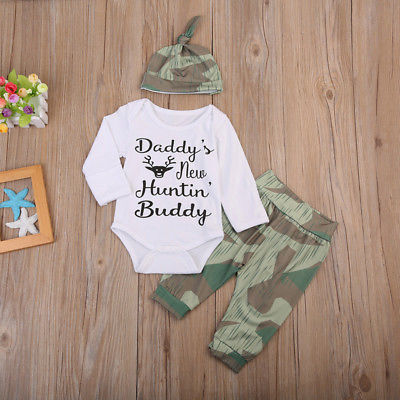 Baby Clothing Newborn Long Sleeve Baby Boy Romper+ Camouflage Pants 3pcs Outfits Clothes Set