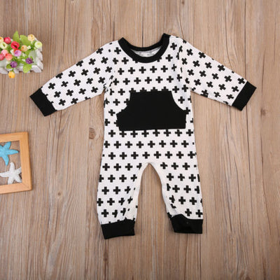 Baby Clothing Girl Boy Long Sleeve Romper Cotton Geometric Romper Kid