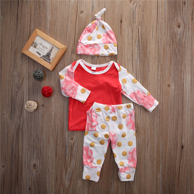 3pcs spring and autumn baby clothes Newborn Toddler Infant Baby Boy Girl Clothes T-shirt Tops Pants Set