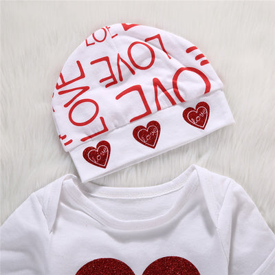 Autumn style baby boy clothes fashion cotton baby girl clothing set casual Letter Print romper pants hat 3pcs sets