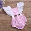 Cotton Toddler Baby Girls Pink Plaid Ruffled Romper Jumpsuit Sun suit Outfit Clothes