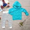 Autumn 2pcs Baby Girl Boy Clothes Set Baby Warm Toddler Hooded Coat Tops + Striped Trousers Clothes Outfit