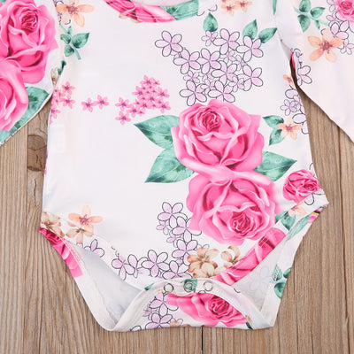 Baby Clothing Newborn Baby Girl Romper One-piece Rose Outfit Milk Fiber Jumpsuit Sunsuit 0-18M