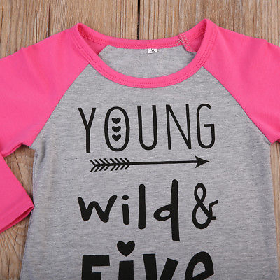 Autumn Kid Baby Girl Clothes Outfit Long Sleeve Patchwork Cute Casual Tops T-Shirts