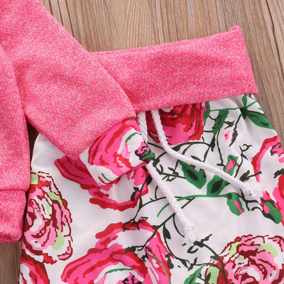 Floral Baby Girls Long Sleeve T-shirt Pants Outfits 2PCS Hooded Clothes Set