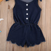 Newborn Kids Baby Girls denim Romper Button Jumpsuit Outfits Denim Sun suit Clothing