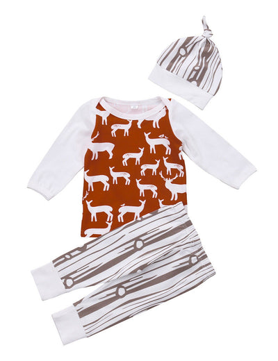 Newborn Baby Girls Boys Long Sleeve Deer Tops T-shirt +Stripes Pants Outfits Clothes