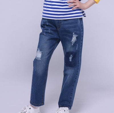 11191989ac9 Denim Pants For Girls Ripped Jeans Elastic Waist Hole Trousers Spring  Autumn Loose Jeans Kids Clothes