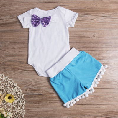 Baby Clothing Newborn Baby Girl Bling Romper Jumpsuit Tassel Shorts Pants Outfit Headband