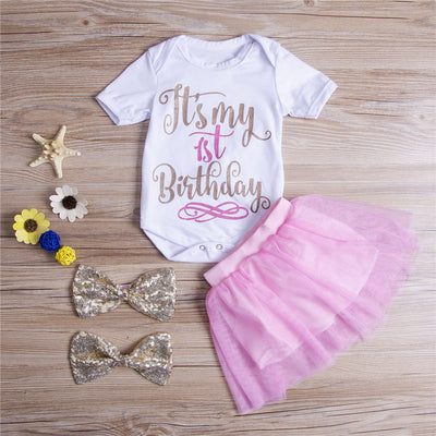 3Pcs Summer Clothing Baby Kids Girls Outfits Clothes Floral T-shirt Tops Pants Shorts Hairband
