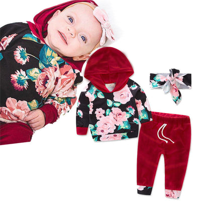 Autumn Winter  Hoodie 3Pcs Fashion Baby Kids Girls Outfits Warm Hoodie Floral Pants Baby Clothes Set