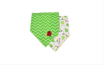 Rushed Letter Novelty Unisex Cotton Polyester Baby Bibs Triangle Trendy Baby Bib 2 Pack