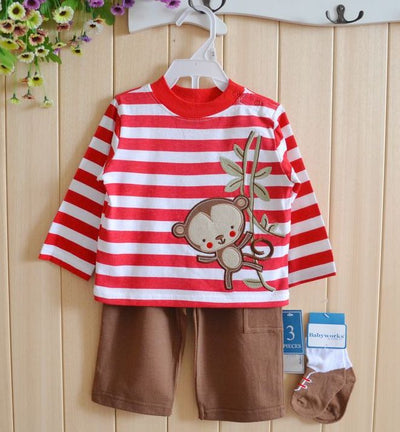 New Arrival Baby Boy Clothing Set Kids Cartoon Clothes for Boys And Girls Cotton Long Sleeve + Pants Socks Child 3pcs