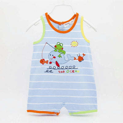 Summer Style High Quality Cute Striped Baby Boys Sleeveless Clothes Cheap Baby Rompers 100% Cotton