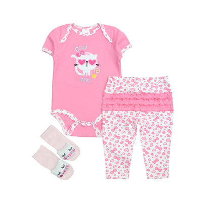Fashion Baby Boy Clothing Short Sleeve Cotton Tops Romper+Pants+Socks 3Pcs baby girl Outfits Set Clothes Infant Product