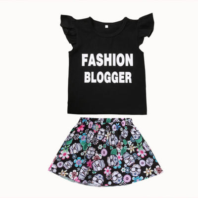 Kid Baby Girls Clothing Set Ruffles T-shirt Tops+Floral Tutu Skirt Kid Girls Outfits Clothes