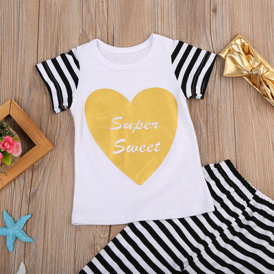 Summer Kids Baby Girls Love Heart Short Sleeve T-shirt Striped Pant Bow Headband Outfit Clothes Set Children Clothing