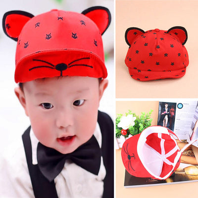 Baby Caps Hat with Cat Ears Hat Cartoon Kids Baby Baseball Cap Summer Sun  Hats Beard 5bcccc9eedd