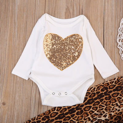 Newborn Baby Girls Long Sleeve Sequins Heart Romper+ Leopard Pants Clothes Outfits