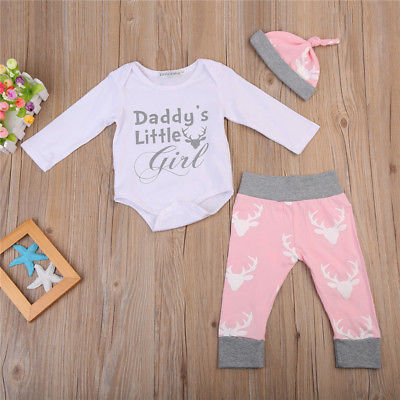 Cute Toddler Kids Baby Girls daddy's little girl Romper +Deer Pants Legging Hat Outfits Clothes