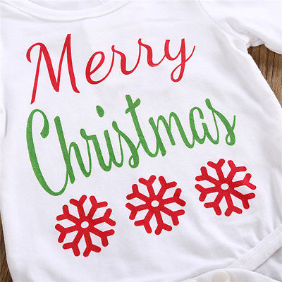 Christmas Baby Clothing Set Baby Boys Girls Romper Long Pants Headband Hat Outfits Clothes