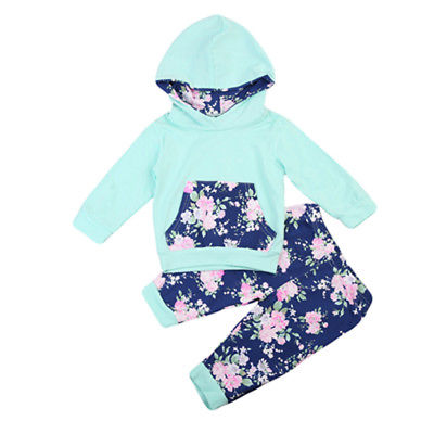 Baby Clothing Winter Toddler Baby Boys Tops Floral Hoodie Pants Home Outfits Clothes