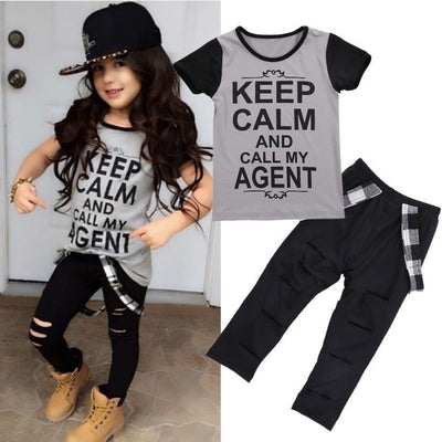 Kids Boys Girls Clothes Print Tops T-shirt Pants Leggings Outfits