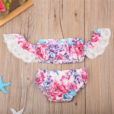 Toddler Baby Girls Off Shoulder Lace Tops Pants Shorts Outfits Clothes Set