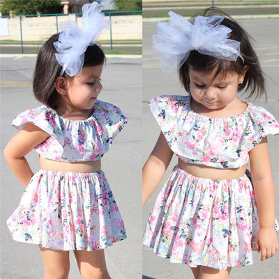 2Pcs baby Clothes Set Newborn Infant Baby Girls Navel Floral Tops Skirt Dress Outfits Set Summer