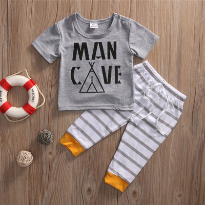 2Pcs Newborn Toddler Infant Kids Baby Boy Clothes Letter Printed T-shirt Tops Striped Pants Outfits Set
