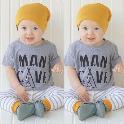 Newborn Toddler Infant Kids Baby Boy Clothes Letter Printed T-shirt Tops Striped Pants Outfits Set