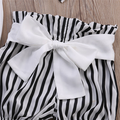 Baby Clothes Set Cute Girl Romper Tops Striped Shorts Bottoms Head Band Outfits