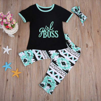 3Pcs Boys Clothing Toddler Baby Girls Short Sleeve Letter Printed T-shirt Printing Pants Headband 3pcs Outfits Clothes Set