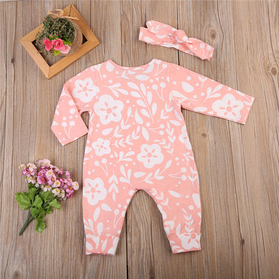 Baby Girls Floral Bodysuit Jumpsuit +Headband Outfits Clothes